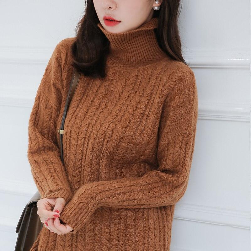 Maglione delle donne di Spessore Pullover Caldo 100% Puro Cashmere di Capra Maglieria Inverno A Collo Alto di Modo Della Ragazza Ponticelli 4 Colori Abiti Femminili