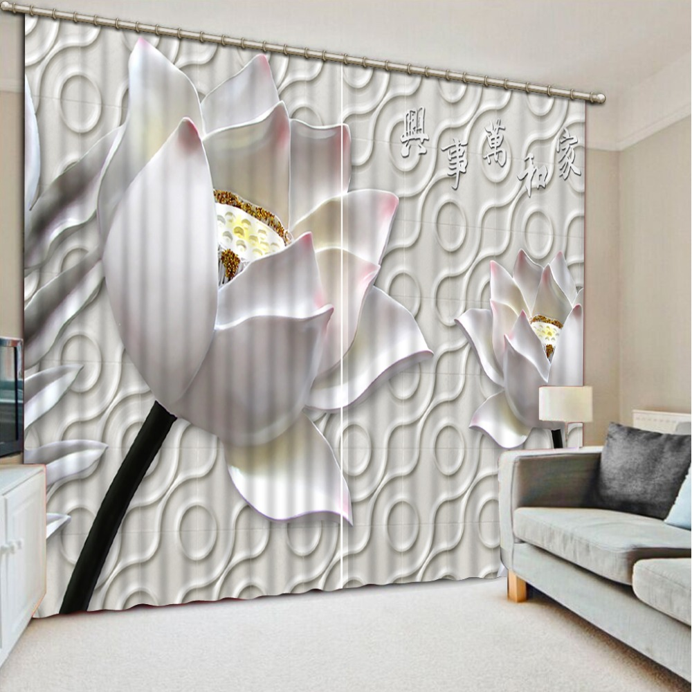 European Curtains Photo Painting White 3d Flower Blackout