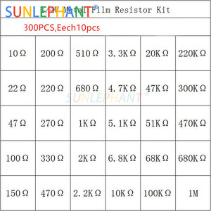 1 Pack 300Pcs 10 -1M Ohm 1/4w Resistance 1% Metal Film Resistor Resistance Assortment Kit Set 30Kinds*10pcs=300PCS