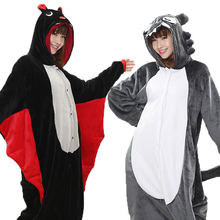 Animal Bat Cospaly Kigurumi Onesie Adult Teenagers Women Pajamas Funny Flannel Warm Soft Sleepwear Overall Onepiece Jumpsuit