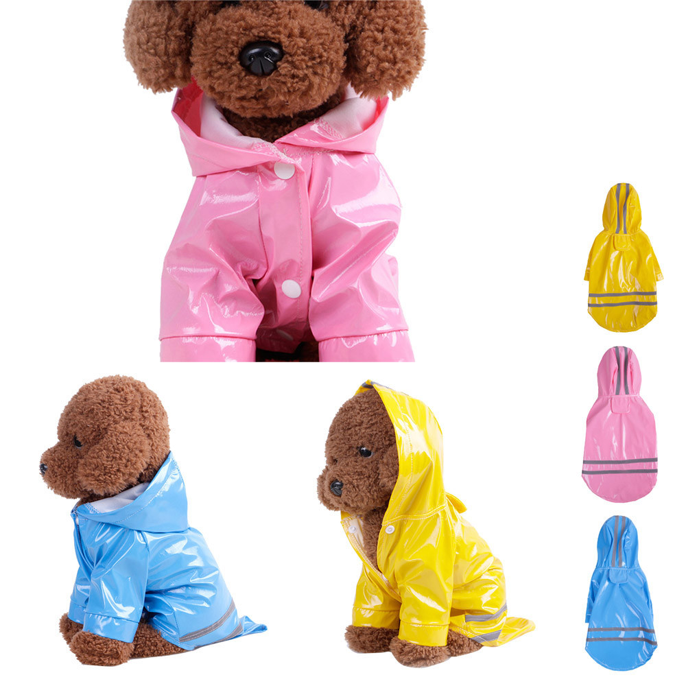 2063a1aed44 2018 Pet Rain Coat Outdoor Solid Hooded Raincoat Pet Waterproof Puppy Dog  Jacket Fashion Dog Clothing