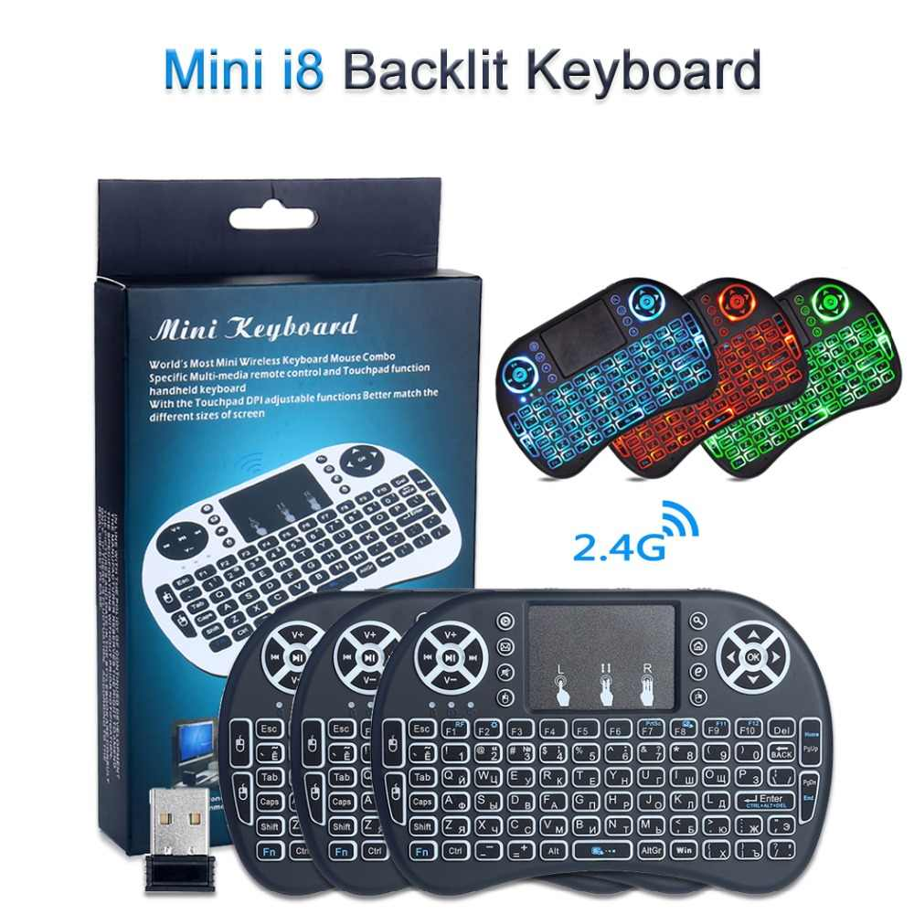 i8 Mini Wireless Keyboard Backlit English/Spanish/Russian Remote Control Fly Air Mouse Touchpad Handheld 2.4GHz Android TV Box