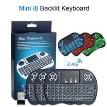 I8 Mini Wireless Keyboard Backlit Bahasa Inggris/Spanyol/Rusia Remote Control Lalat Udara Mouse Touchpad Handheld 2.4 GHz Android TV Box(China)