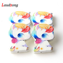 ФОТО 20pcs 23x28mm licorne unicorn natural wood spacer beads for jewelry making diy kids toys necklace