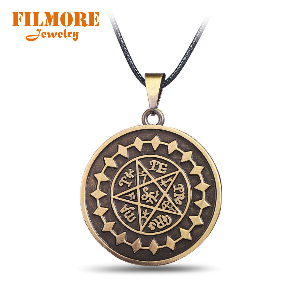 anime butler jewelry necklace pendant charm cosplay kuroshitsuji pentagram ciel sebastian contract statement gift birthday necklaces accessories rope chain
