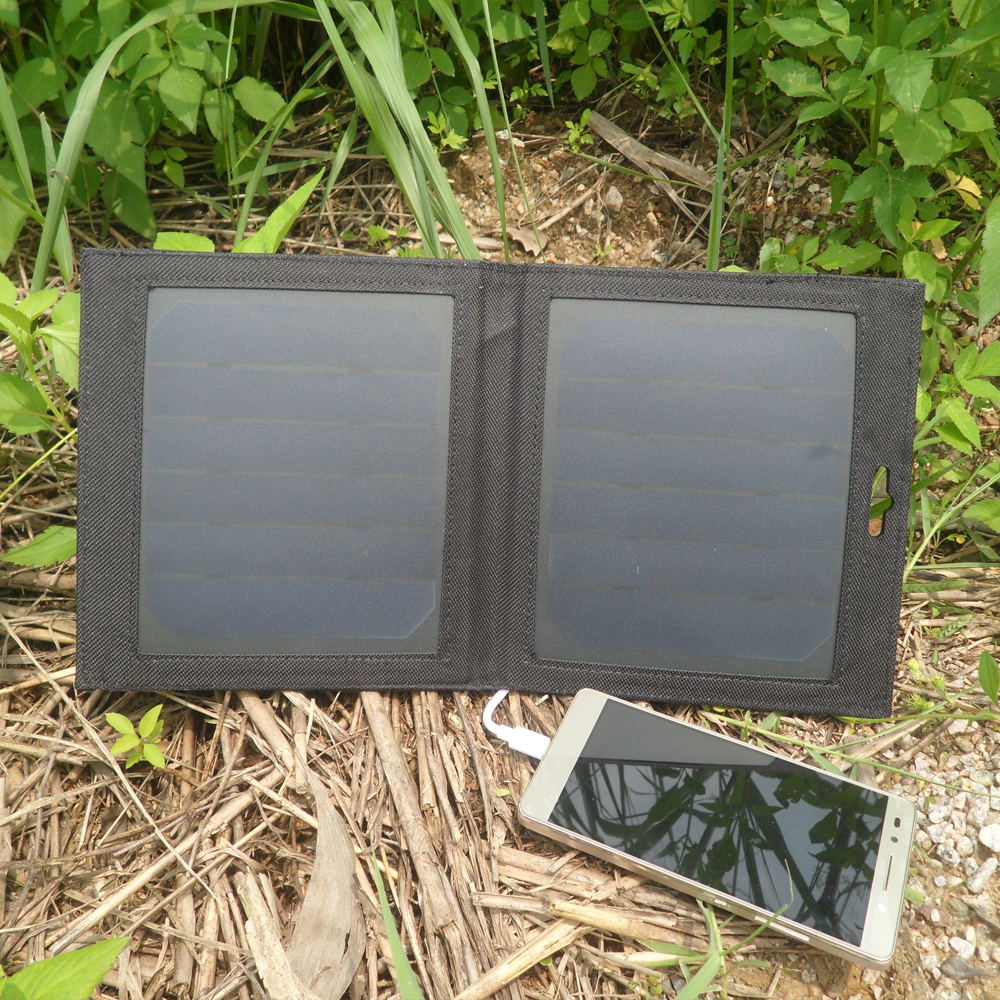 PowerGreen Mosquetón Diseño Cargador Solar, 7 Vatios Panel Solar Mini, bolsa ple