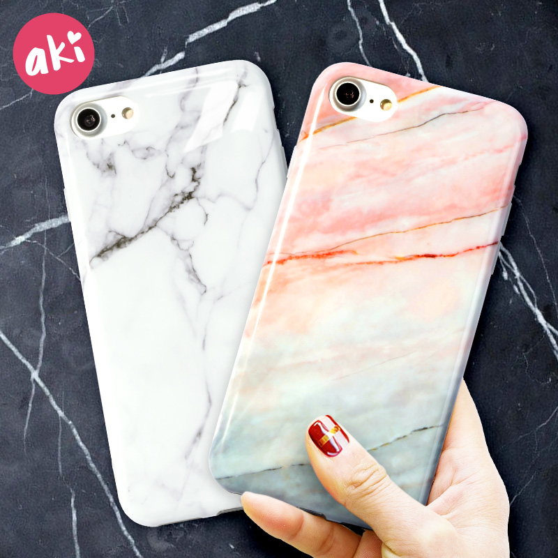 AKI Marble Phone Case for iPhone 8 Plus iPhone 6 Plus Case Glossy Soft Back Cover for iPhone X iPhone 7 6s Plus Case