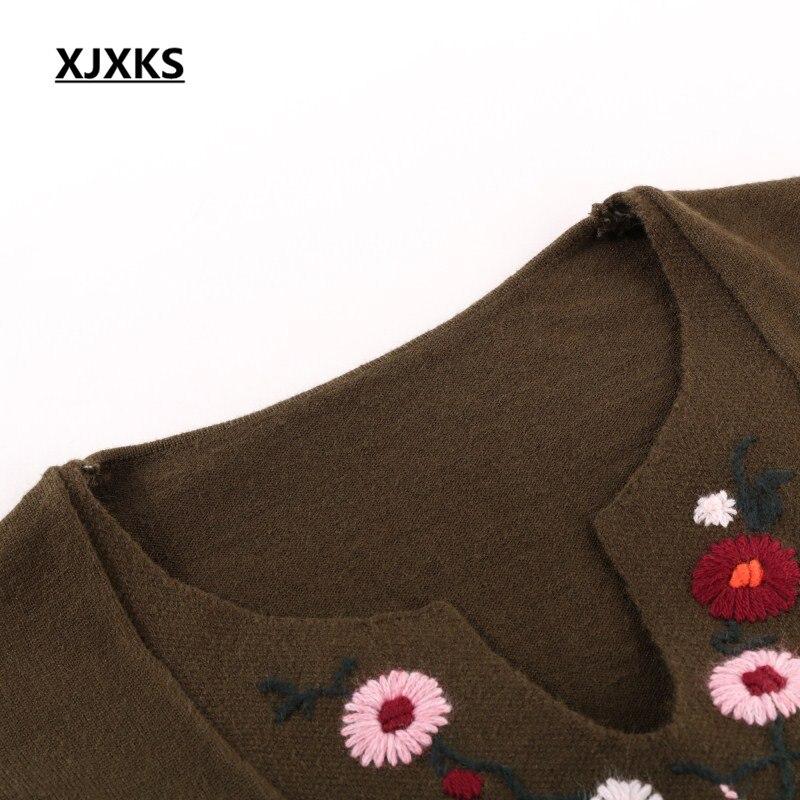 Suéteres Suéter Alta caqui A Tejer verde Mano Mujeres De Floral Calidad Tejido Xjxks Más Mujer Invierno Tamaño Marrón Largos Yq4Bdxw
