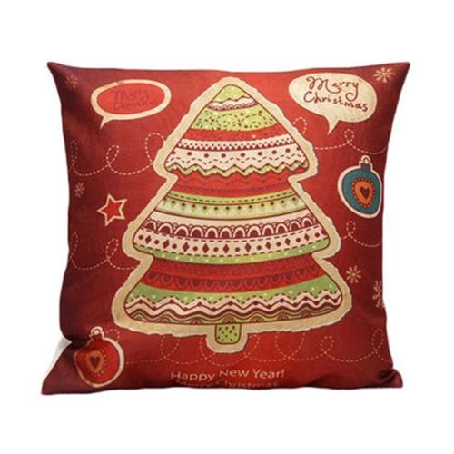 Christmas flax Throw Pillowcase Sofa Case Home Decor, Christmas Tree Red+orange