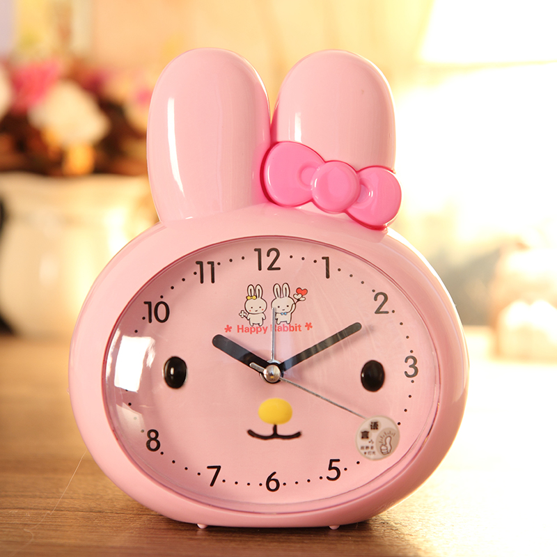 #a night light clock dual alarm clock children cartoon students talking clock small alarm bedroom clock