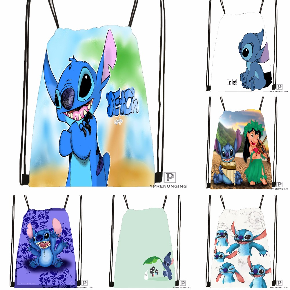 Custom Lilo And Stitch Drawstring Backpack Bag Cute Daypack Kids Satchel (Black Back) 31x40cm#180531-04-57