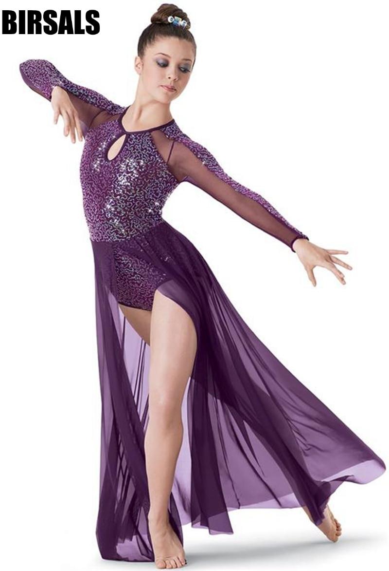 dark purple sparkling sequin body long sleeve stage performance dance costume Contemporary&Lyrica ballet dress BL0026