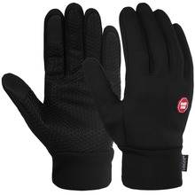 Vbiger Black Winter Warm Gloves Windproof Cold Weather Gloves Thick Warm Mittens Touch Screen Gloves with Anti-slip Design