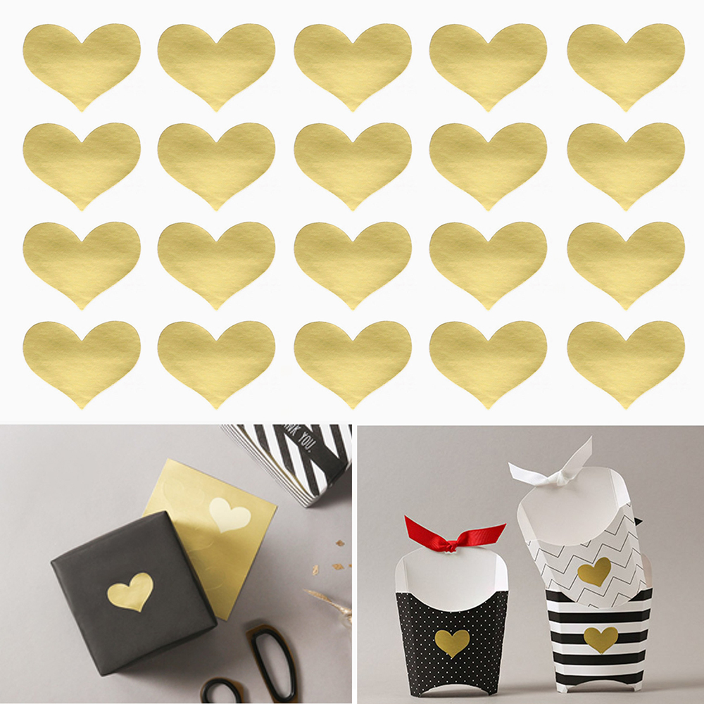 240Pcs/10 Sheets Golden Heart Gold Handmade Cake Candy Packaging Sealing Label Sticker Baking DIY Gift Party Stickers