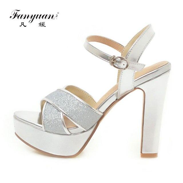 Fanyuan moda donna tacco alto Sandali Della Piattaforma cinturino Alla Caviglia scarpe D'oro Blocco di Gomma Tacchi delle signore Del Partito Da Sposa Glitter Sandali