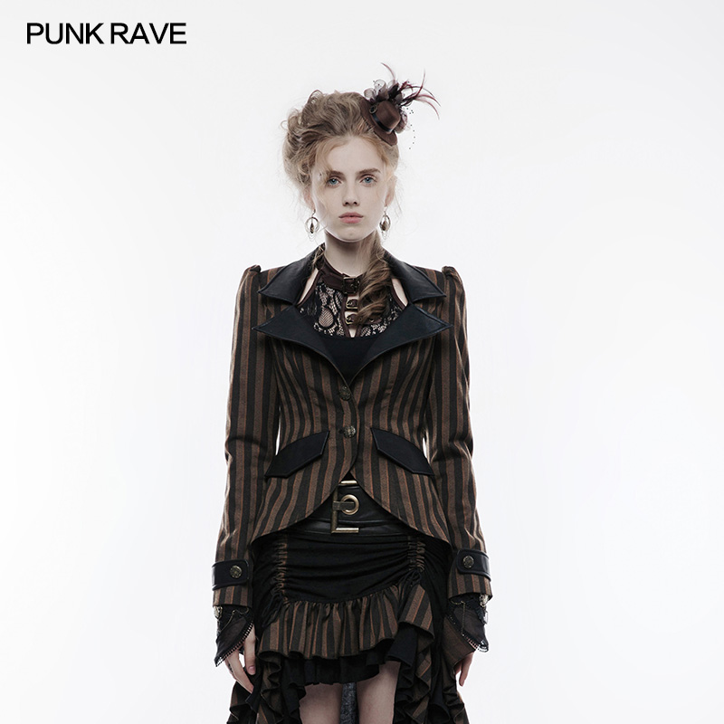 2018 Brown jacket striped with col falsely leather and old buttons steampunk Punk rave WY822