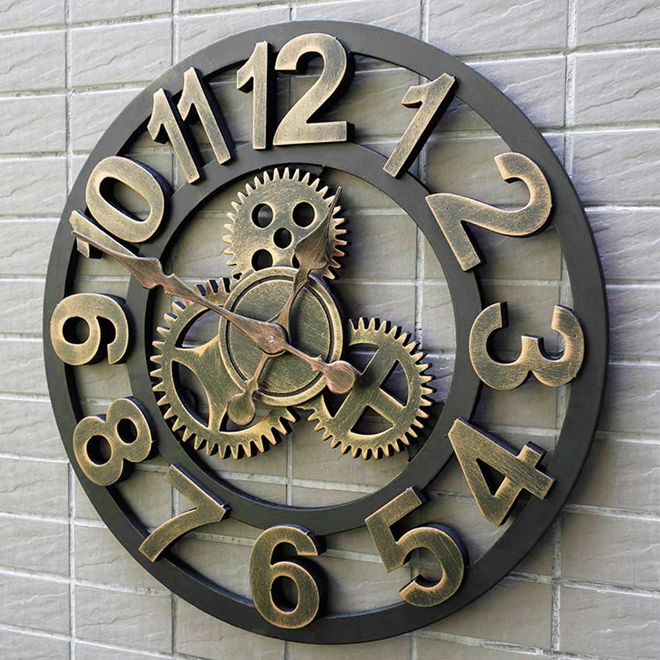 40 45 50cm 3d Wall Clock Large Wooden Vintage Wall Clocks