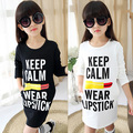 Girls Long T-shirts Dresses 2017 New Spring Autumn Kids Girls Long Sleeve T-shirt Top Girls Hoodies White Black Kids Clothes