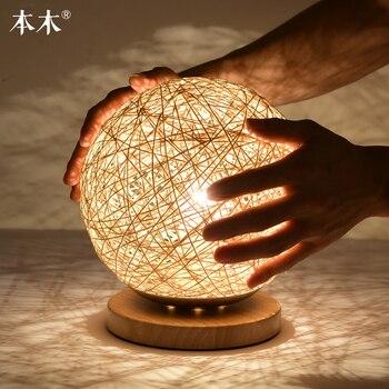 الحد الأدنى الحديثة طاولة كرة القنب مصباح الخشب الخام الروطان الزخرفية أشكال فنية من الخشب نوم أباجورة