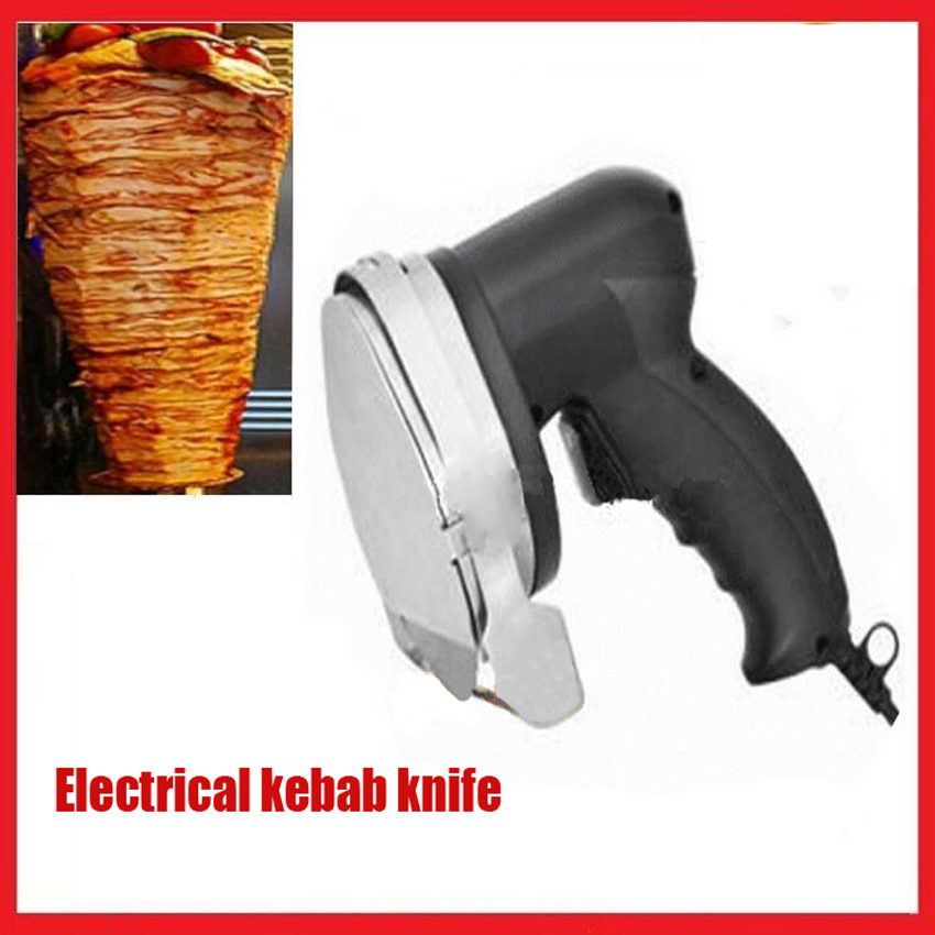 KS-001E Electrical kebab knife, 100mm Blade diameter doner kebab slicer(two blades), kebab shawarma gyros cutter 220V/50Hz fast delivery automatic electric doner kebab slicer for shawarma kebab knife kebab slicer gyros knife gyro cutter