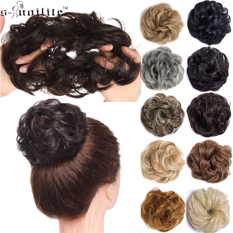 SNOILITE Synthetic Chignons Hair Scrunchies Extensions Hair Piece Wrap Ponytail Hair Tail Updo Fake Hair Bun Hairpiece
