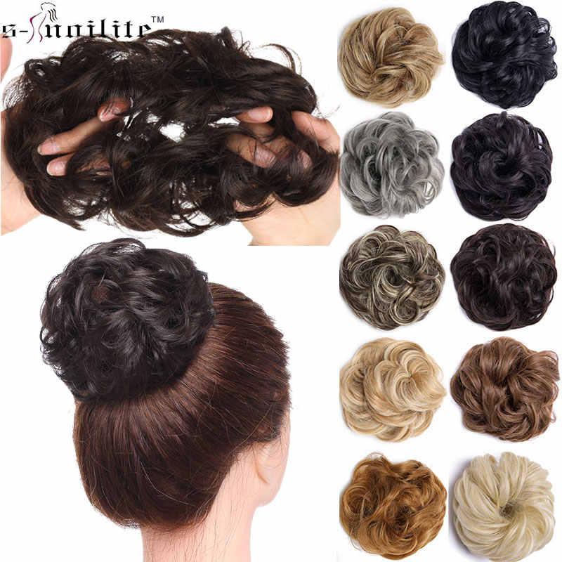SNOILITE синтетические шиньоны резинки для волос для наращивания волос кусок обмотки конского хвоста волосы хвост Updo поддельные волосы булочки шиньоны