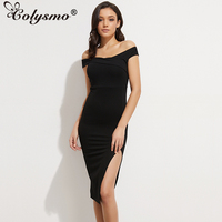 Smoves Super Thick Strechy Flattering Off Shoulder Black Midi Dress High Waist Split Party Bodycon Dresses