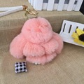 12cm Wholesales Price Fluffy Copenhagen Handmade Real Rabbit Fur  Pompom Bag Charm Keychain Key Chain Ring Luxury Hanger Pendant