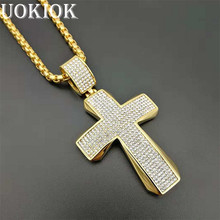 Hip Hop Men Gold Color Full Rhinestone Cross Necklace Pendant Stainless Steel Iced Out Pendant & Chain Hiphop Jewelry цены