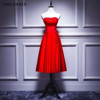 JANCEMBER 2019 Summer Latest Cocktail Dress Party Sweetheart Lace Up Back Satin Short Simple Red abito cocktai