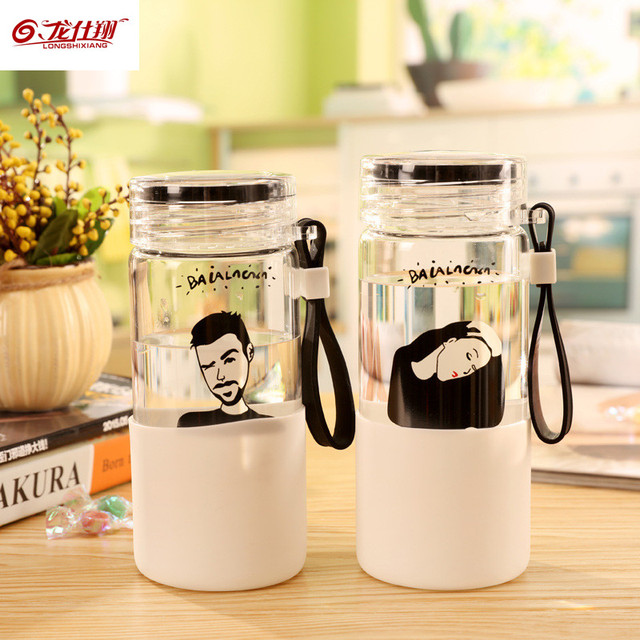 LSX 320/450ml Borosilicate Cute Glass Water Bottle With Handle Silicone Bag Transparent Portable Sports Juice Tea Gym Kettle