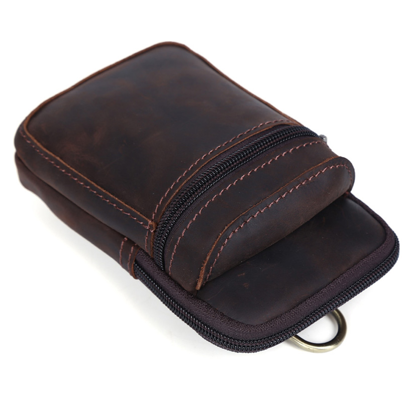 Tiding Mini Genuine Leather Fanny Pack Cell Phone Pouch Small Case Waist bag with Buckle For iPhone 3128