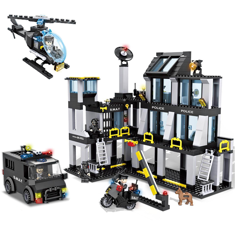 HSANHE Police Station Helicopter Truck Action Block SWAT Building Model Set Brick Collection Classic Kids DIY Toys Gifts bohs building blocks city police station coastal guard swat truck motorcycle learning
