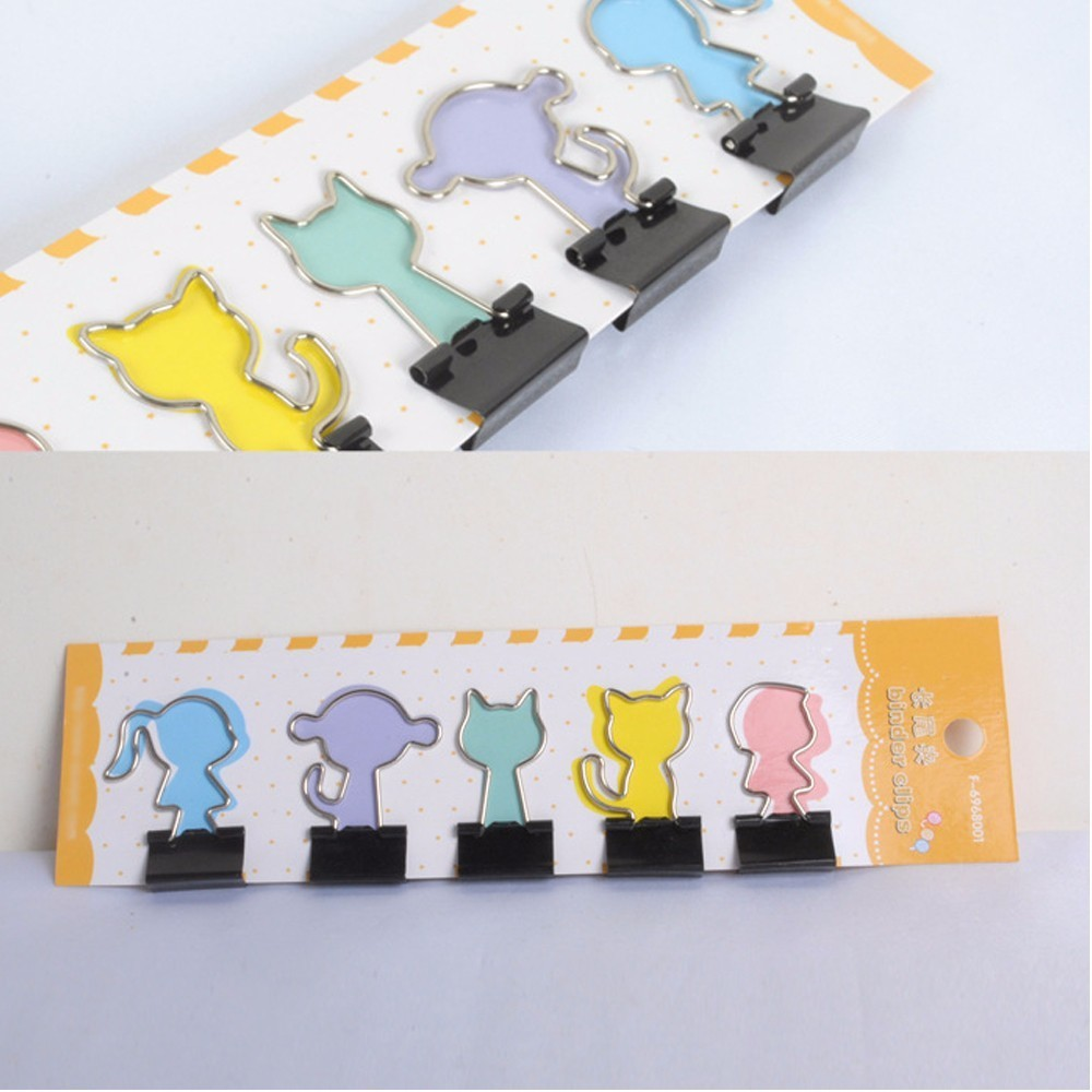 4pcs/lot Metal Binder Clips Star Notes Cute PaperClip Christmas Tree Boy Mushroom Office Stationary Supplies Gifts