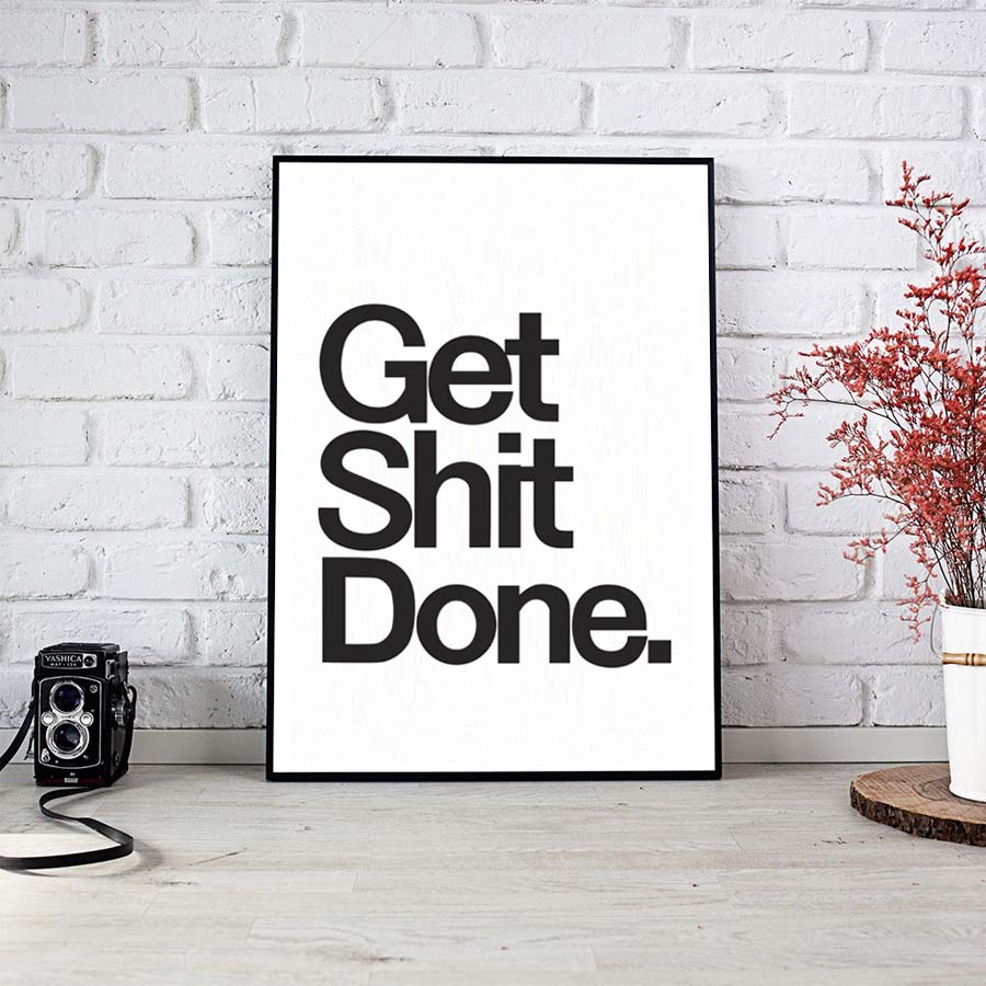 Nordic Syle Get Shit Done Characters Art Canvas Painting Poster Wall Picture For Living Room Home