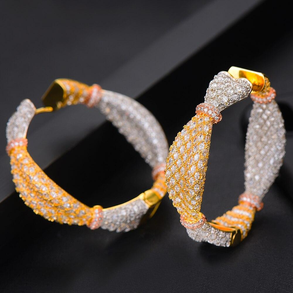 Jimbora oreille bonbons conception de luxe cubique Zircon CZ déclaration cerceau boucle d'oreille pour les femmes de mariage DUBAI mariée cercle boucle d'oreille 2019 - 3