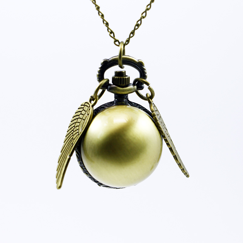 Vintage Bronze Steampunk Snitch Ball Quartz Pocket Watches With Pendant Necklace Chain Children Kids Best Xmas Gift old antique bronze doctor who theme quartz pendant pocket watch with chain necklace free shipping