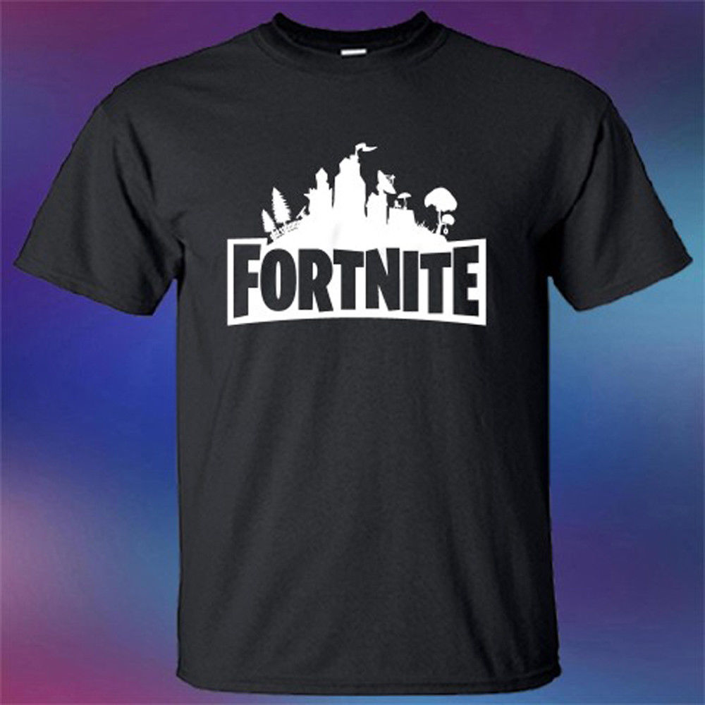 2018 Fashion casual streetwearFortnite Famous Online FPS Battleroyal Game Logo Mens Black T-Shirt Size S-3XL