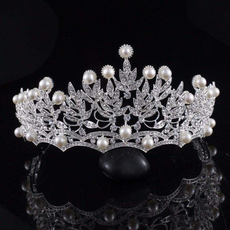 e34568e60b8 Crystal Pearl Crowns Rhinestone Tiara Brides Hairband Silver Plated Hair  Jewelry