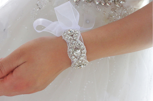 Handmade Crystal Beaded Bridal Bracelet Accessories Wedding Cuff Rhinestone