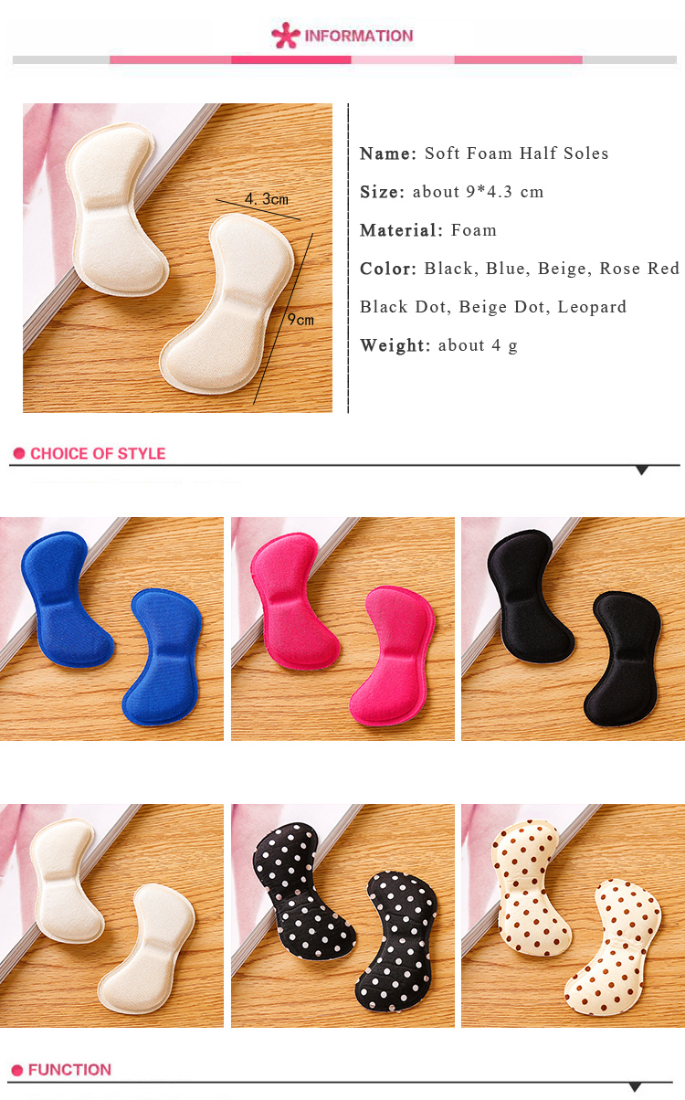 Soft Foam Half Soles Insoles Shoes Back Inserts Heel Liner Cushion Protector Foot Care Shoe Pads Grips Stickers (6)