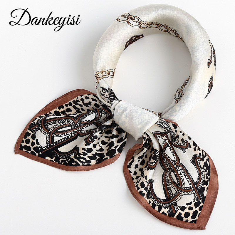DANKEYISI All Match Printing Bandana Small Square Silk Scarf Silk Ribbon Neck Scarf New Satin Surface Women Scarves