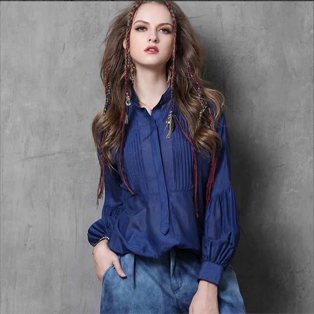 76d39df08c0 Осенняя повседневная темно-синяя шелковая рубашка женская блузка Blusa  Feminina с длинным рукавом-фонариком
