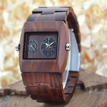 BEWELL Top Luxury Brand Rectangle Watch All Wood Strap Dual Hands Japan Movement Men Wooden Watches for Adult or Teenager W021C