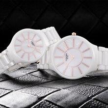 LONGBO Lujo Cerámica Blanca Resistente Al Agua Clásico Fácil Leer Deportes Reloj de Las Mujeres, Diamante Superior de Las Mujeres del reloj de Cerámica 6075A