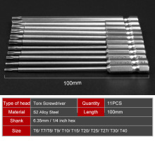 11pcs 100mm Long Steel Magnetic Torx Hex Security Electric Screwdriver Bit Set For  Tool