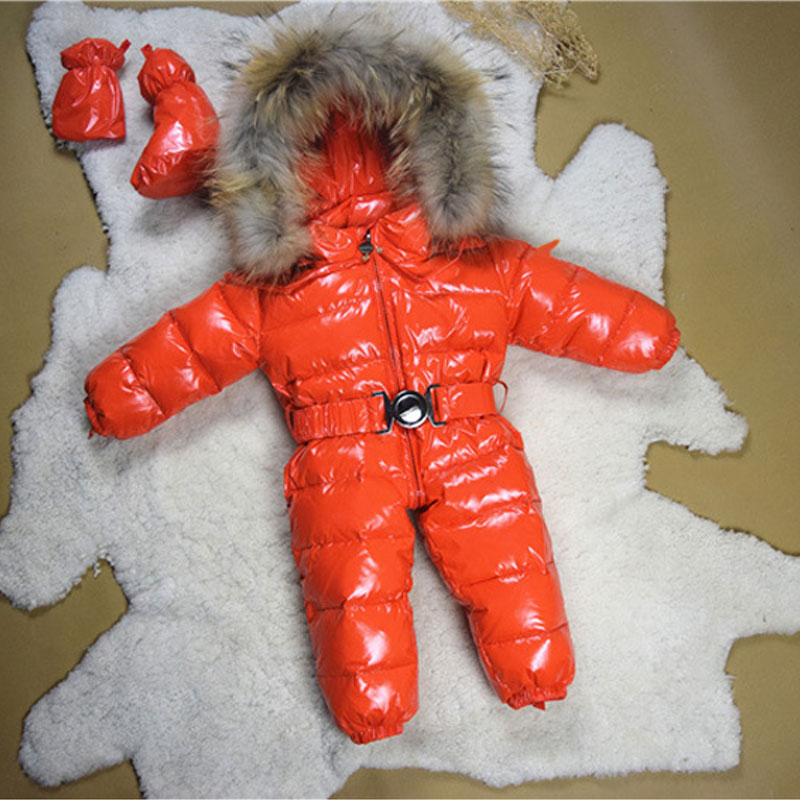-30 Russian Winter Children Baby Winter Romper Down Jacket Boys Girl Outerwear Coats Thicken Waterproof Snowsuits Girls Clothing new children down jacket out clothing winter ski clothes winter jacket for girls children outerwear winter jackets coats