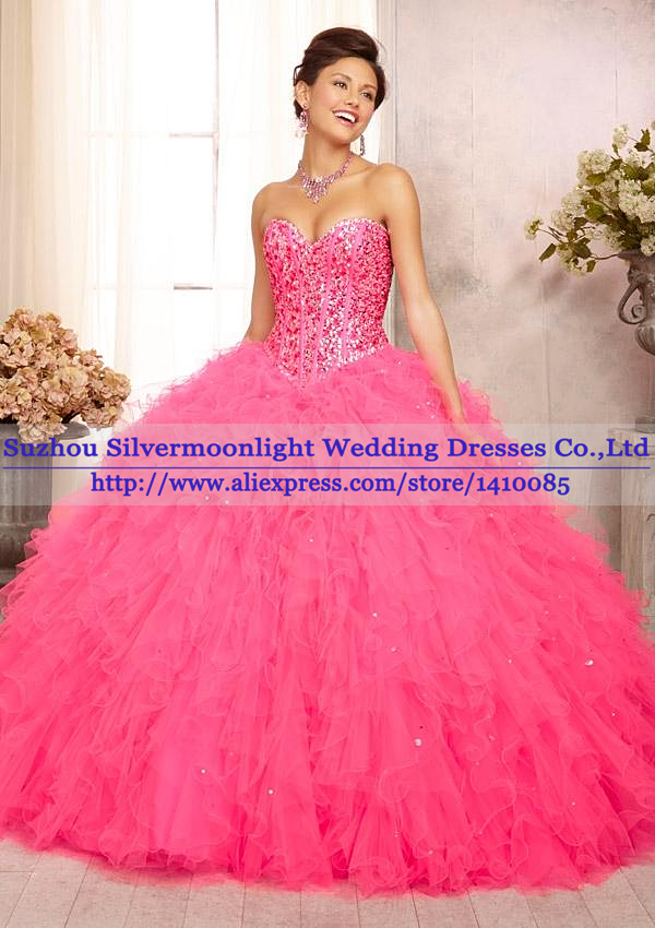 Aliexpress.com : Buy Elegant Crystal Beaded Hot Pink Quinceanera ...