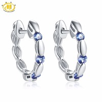 Hutang Natural Gemstone Tanzanite Stud Earrings Solid 925 Sterling Silver Fine Jewelry For Women S Gift