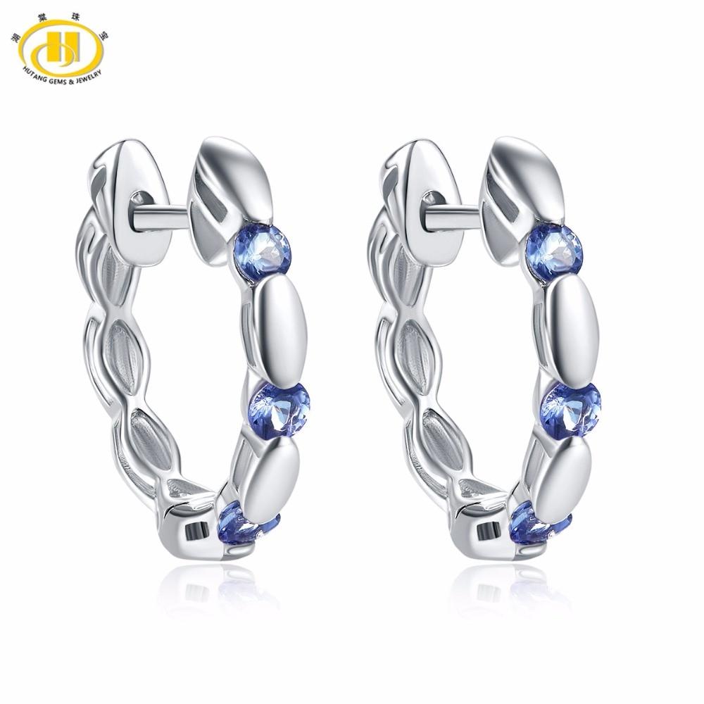 купить Hutang Stone Jewelry Natural Gemstone Tanzanite Stud Earrings Solid 925 Sterling Silver Fine Fashion Jewelry For Women Gift New по цене 1551.7 рублей